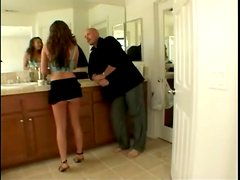 Glamorous slut in a tiny skirt shows off for him
