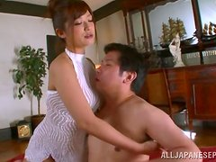 Busty Japanese milf enjoys the special care on her pussy