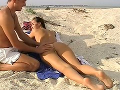 Sextractive girl Viktoria is having passionate sex on nudist beach