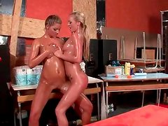 Pussy eating girls put their leather pants back on