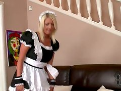 French maid Pamela M vacuums her peach