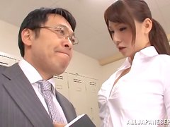 Sweet Japanese girl gets fucked and facialed in the locker room