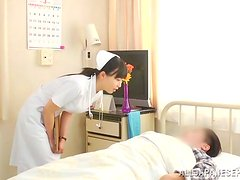 Nice double penetration with a juicy Japanese nurse