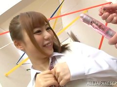 Kinky Japanese girl gets her snatch fingered and pounded