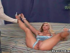 Young looking hot ass blonde slut Sarah with fake tits