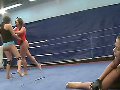 Three hot and horny ladies Diana Stewart, Emma Butt and Larissa Dee fighting on the ring