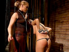 BDSM action with naughty lesbians whose names are Barbie White and Kathia Nobili