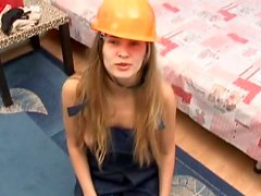 Frisky chick Ester is having fun with her bf wearing overall and helmet