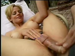 Slut in shiny skirt eaten out and pounded