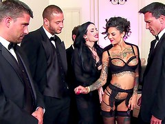 Arousing brunettes in dirty group session