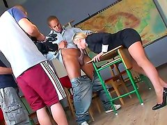 Bad ass blonde bitch Kerry Louise seduces her student into getting a young black throbbing cock deep in her