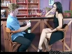 He eats out glamorous girl pussy in the bar