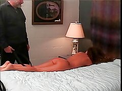 Sexy brunette gets whipped by older guy