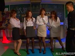 Four stunning Japanese teachers have wild sex with two guys