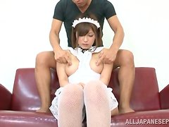 Adorable Yurika Miyaji blows a dick and gets fucked on the floor