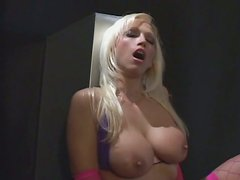 Adorable blonde Nicki Hunter rides sex machine