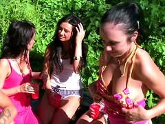Horny college girls in open-air fucking