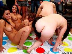 A few sexy chicsk take ride on cocks during a hot dorm party