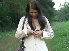 Outdoor pussy stimulating by  Zuzinka  horny chick