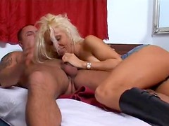 Leather boots blonde shows him a good time