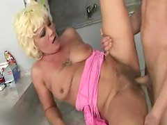 Hairy blonde mature and her young lover