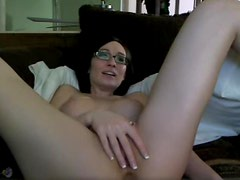 Cute amateur girl in glasses fucks ass with toy