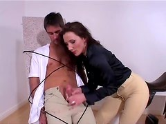 Chick in skintight pants teases her tied up boy