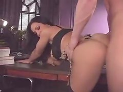 Hot big tits brunette fucked in her office