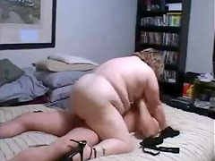 Fat mature in glasses plowed in video