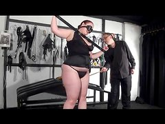 Fat girl flogged and caned by her master