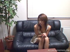 Slutty Japanese girl gets pounded doggystyle at the interview
