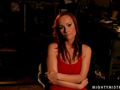 Katy Parker lets Lea Lexxis tie her up and drill her snatch with a toy