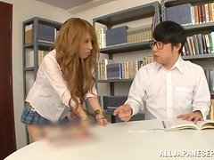 Gorgeous Japanese girl Erika Aisaki gets fucked in a library