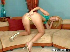 Arousing young blonde amateur with natural boobs in undies and