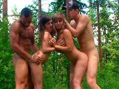 Nasty Alika, Tiffany, Hannah & Marta are ready for group sex in the woods