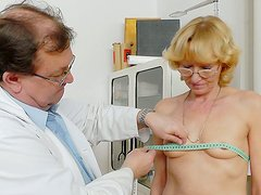 Horny doctor examines and tickles the wet cunt of titless pale bitch Anna