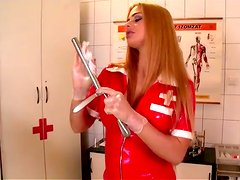 Fantastic nurse in latex outfit peeing in the doctor's office