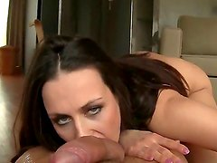 Adorable and dazzling whore Mea Mellone revealing her huge breasts and doing a splendid blowjob in