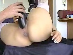 Blonde's bald cum-aperture fucked on cam