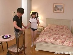 Teen Japanese girl gets toyed deep in a bedroom