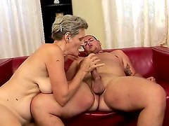 Horny hairy granny Aliz gets her muff licked and