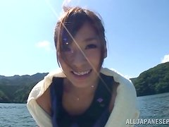 Kaho Kasumi sucks a cock and gets mailed outdoors