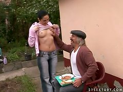 Countryman's delight with a sexy and petite teen