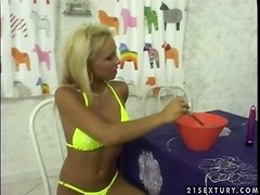 Nasty blonde Adriana Russo enjoys riding a cock on the floor