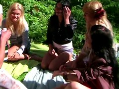 Wild college sluts go wild and silly outdoors