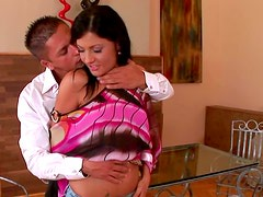 Busty brunette Nataly Colt is getting cum in her mouth