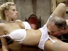 Old fat man fucks a hot blonde in stockings