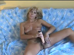 Wicked hairy milf pussy takes a toy