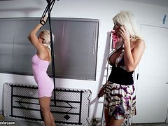 Puma Swede and Sandy play with a strap on and enjoy it