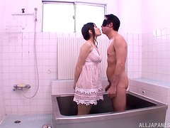 Mikuri Kawai gives a blowjob in a bathroom and gets a mouthful